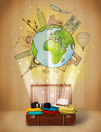 around: Luggage with travel around the world illustration concept on grungy background