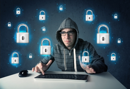 Young hacker with virtual lock symbols and icons on blue background Stock Photo - 21422672