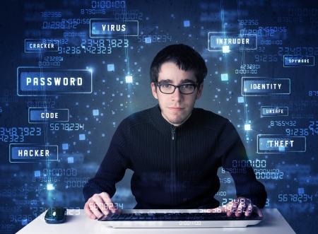 programing: Hacker de programaci�n en el ambiente tecnol�gico con iconos y s�mbolos cibern�ticos