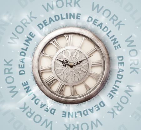 Clocks with work and deadline round writing concept photo