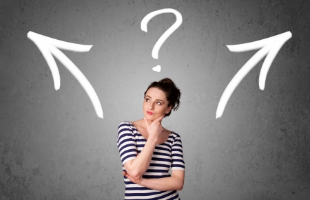 gesticulation: Pretty young woman making a decision with arrows and question mark above her head