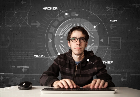 enviroment: Young hacker in futuristic enviroment hacking personal information on tech background