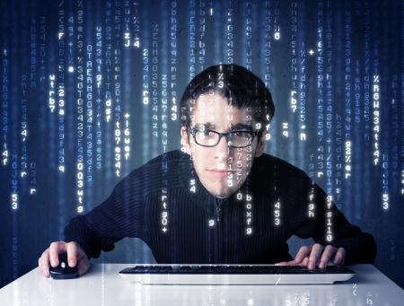 白い記号で未来的なネットワーク技術からの情報を復号化ハッカー