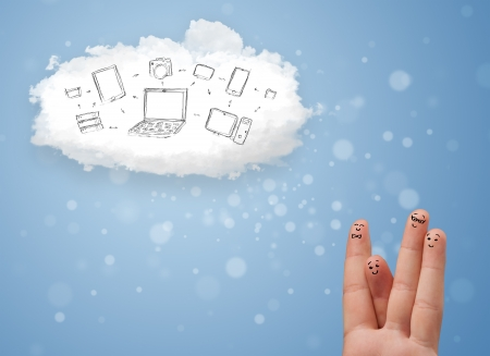 Happy cheerful smiley fingers looking at cloud computing with technology icons photo