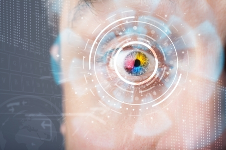 futuristic eye: Futuristic modern cyber man with technology screen eye panel concept Stock Photo