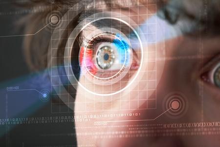 Modern cyber man with technolgy eye looking photo
