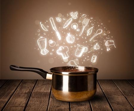 steel pan: Iconos de cocina brillante que sale de la olla de cocci�n