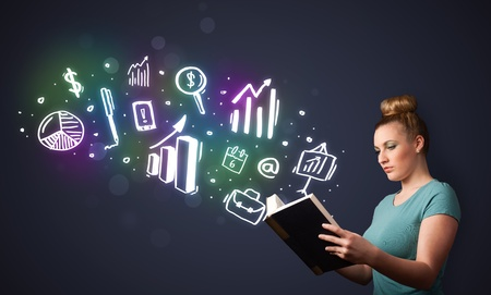 Young lady reading a book with business icons coming out of the book Stock Photo - 21736753