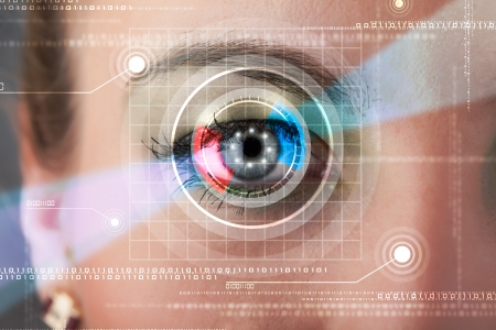 Modern cyber woman with technolgy eye looking photo