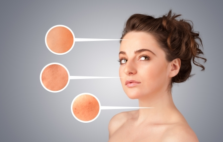 Beautiful young girl with facial care arrow signs of damaged skin on gradient background Stock Photo - 21740412