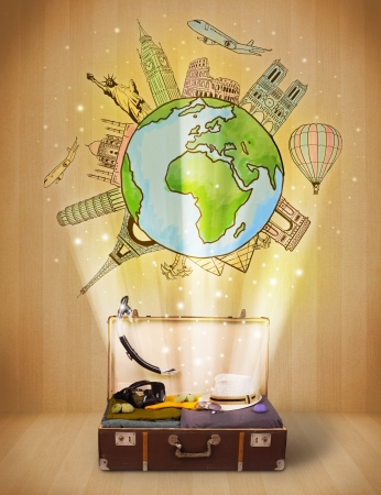 汚れた背景に世界図の概念の周り旅行荷物