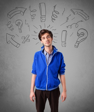Handsome man with question sign doodles on gradient background Stock Photo - 21739932