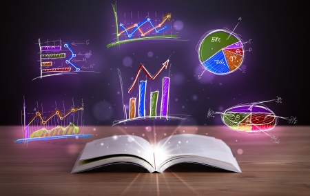 future earnings: Book on wooden deck with glowing graph illustrations and symbols Stock Photo