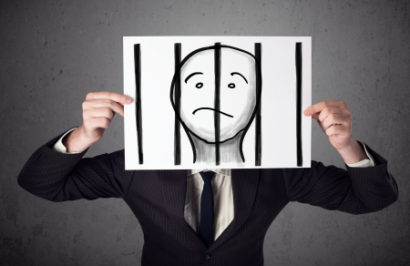 prison bars: Businessman holding a paper with a prisoner in jail behind the bars on it in front of his head