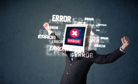 Business man with pc monitor on his head and error messages darker background Stock Photo - 21740046