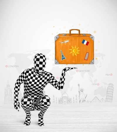 anonymity: Funny man in full body suit presenting vacation suitcase, tourist attractions in background