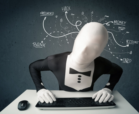 data theft: Dangerous morphsuit hacker with white drawn line thoughts