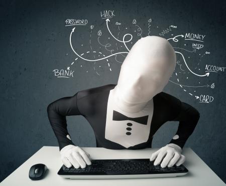 ladrones: Hackers Morphsuit peligrosa con blancos pensamientos l�nea trazada Foto de archivo