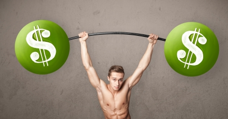 Strong muscular man lifting green dollar sign weights Stock Photo - 21891890