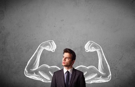 muscle arm: Young businessman wondering with sketched strong and muscled arms