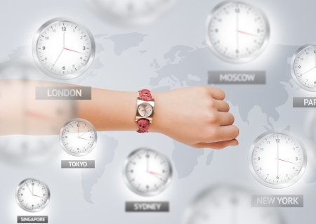 Clocks and time zones over the world illustration concept illustration