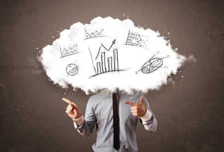 elegant business man: Elegante uomo d'affari testa nuvola con mano disegnato grafici concetto