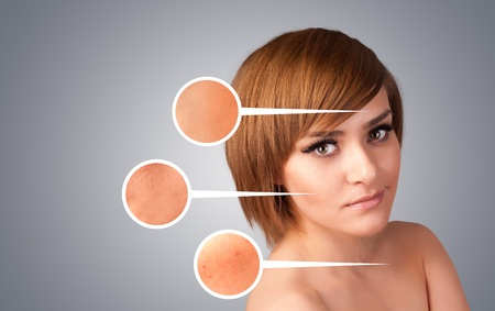 Beautiful young girl with facial care arrow signs of damaged skin on gradient background photo