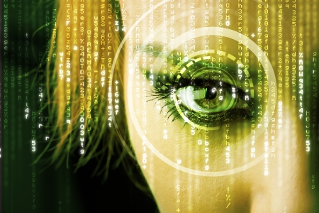 Modern cyber woman with matrix eye concept photo