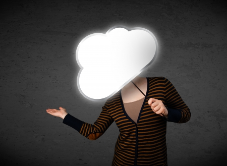 obscurity: Young lady standing and hiding his head behind an empty cloud