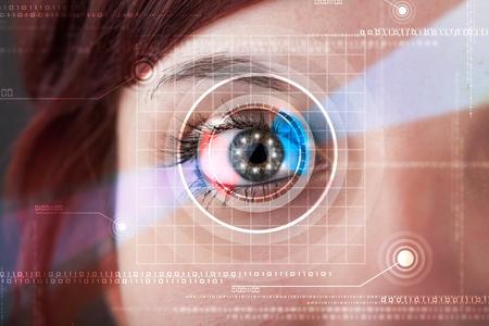 technolgy: Modern cyber woman with technolgy eye looking Stock Photo