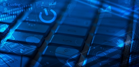 Computer keyboard with glowing charts, digital marketing concept photo