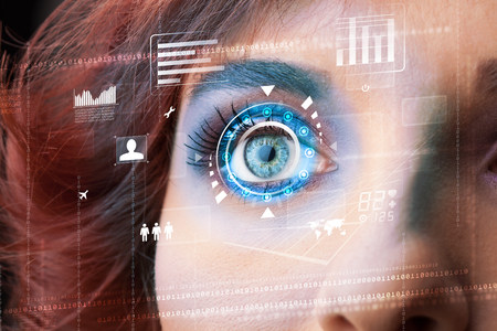retina display: Future woman with cyber technology eye panel concept