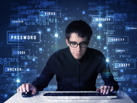 enviroment: Hacker programing in technology enviroment with cyber icons and symbols
