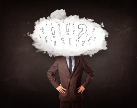 exclamation icon: Business man cloud head with question and exclamation marks concept