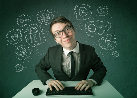 Young nerd hacker with virus and hacking thoughts on green background Stock Photo - 22280891
