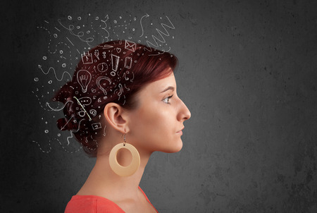 persona pensando: Chica joven que piensa con iconos abstractos sobre la cabeza