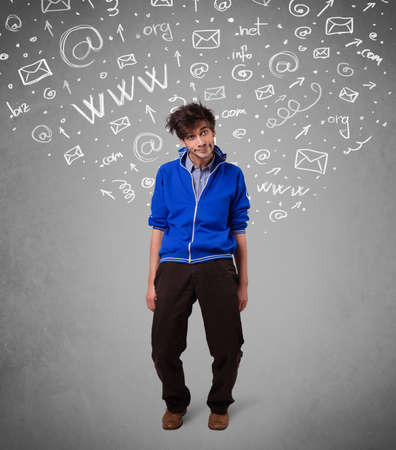 Casual young man with abstract white media icon doodles on gradient background photo