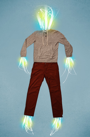 Energy light beam in casual clothes concept photo