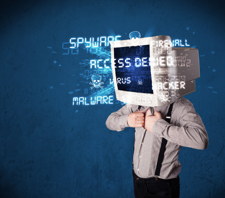Monitor head person with hacker type of signs on the blue screen Stock Photo