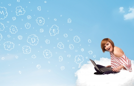 Pretty young woman sitting in cloud with laptop, letters concept photo