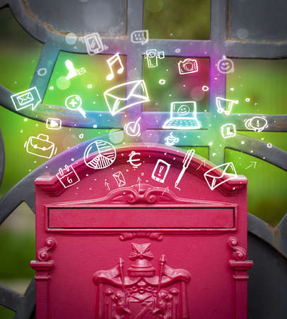 letterbox: Colorful modern icons and symbols bursting out of a mailbox Stock Photo