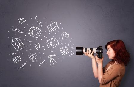 camera lens: Jong meisje fotograaf fotograferen fotografie pictogrammen