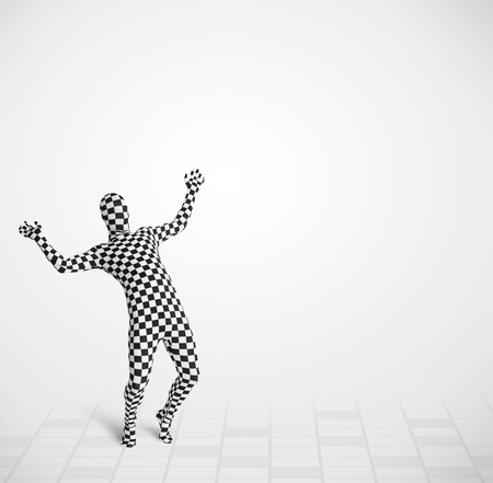 Funny guy in morphsuit body suit looking at empty copy space Stock Photo