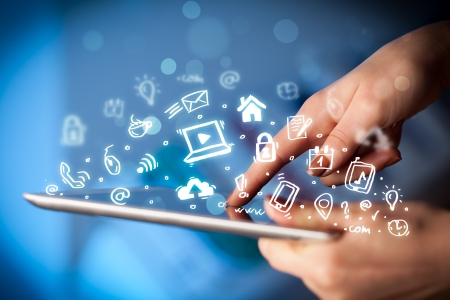Media: Hand touching tablet pc, social media concept