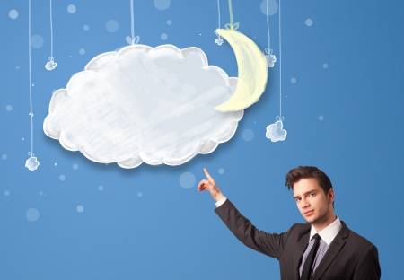 Businessman looking at cartoon night clouds with moon hanging down photo