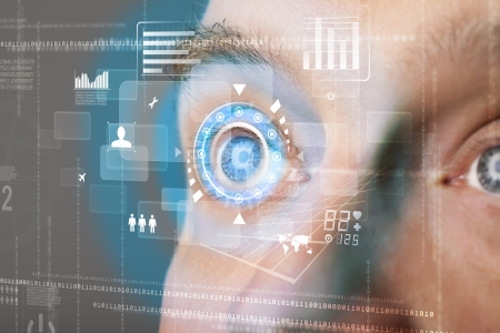 futuristic eye: Futuristic modern cyber man with technology screen eye panel concept Stock Photo