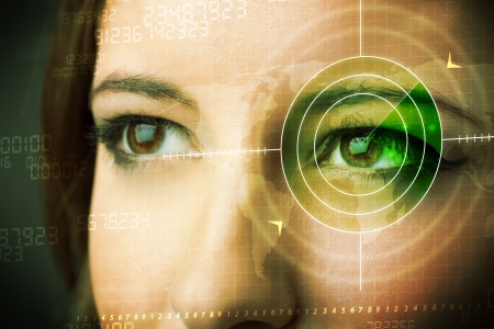 deep focus: Cyber woman with modern military target eye concept
