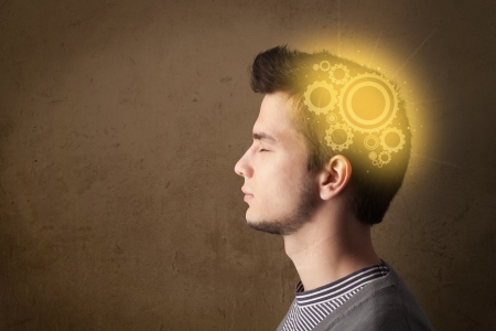 machine parts: Young person thinking with a glowing machine head illustration