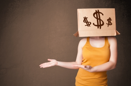 masquerader: Young girl standing and gesturing with a cardboard box on his head with dollar signs