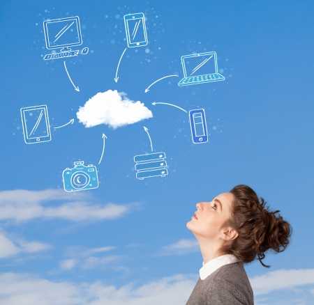 Casual young girl looking at cloud computing concept on blue sky photo
